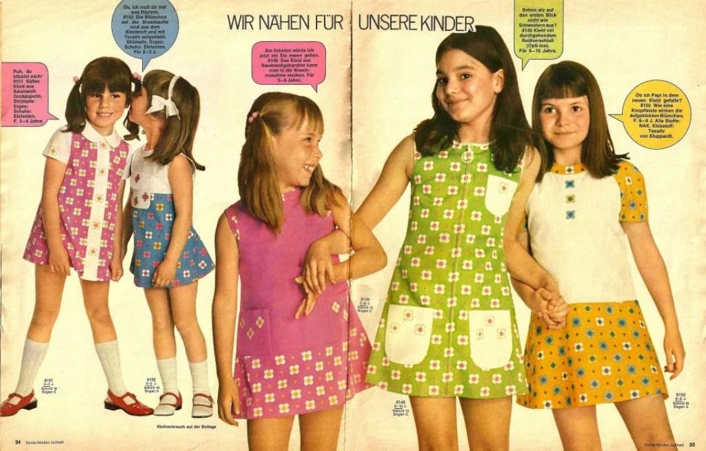 Foto de uma revista com a moda infantil para meninas dos anos 60.