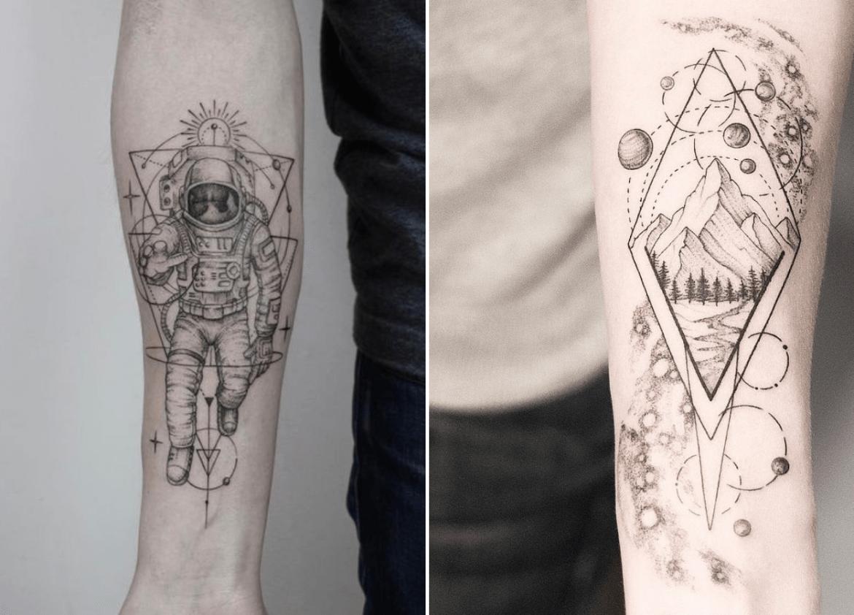 Tatuagem geométrica espacial em fineline