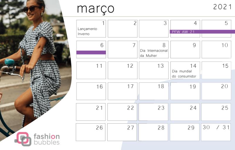 Calendário Fashionista 2021 - Março