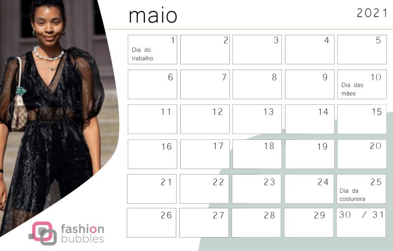 Calendário Fashionista 2021 - Maio