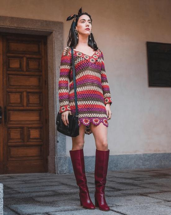 Vestido crochê curto