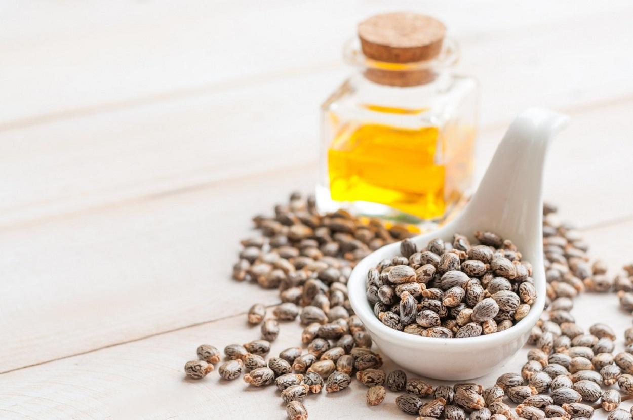 sementes de mamona em uma colher e óleo de rícino em uma garrafa