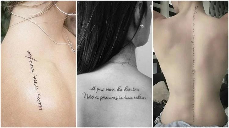 três opções de tatuagem escrita nos ombros