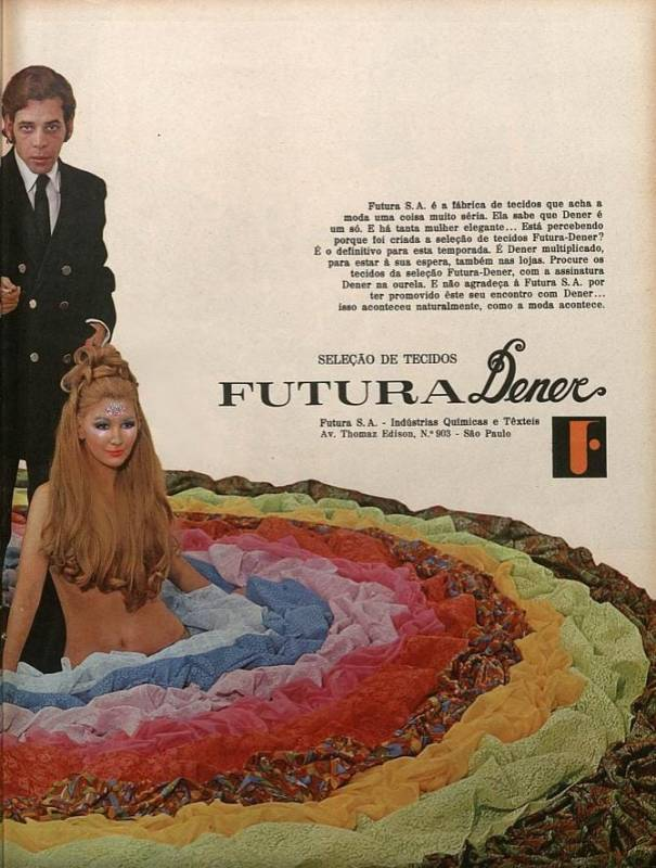 Publicidade da fábrica de tecidos Futura S. A. com Dener Pamplona.