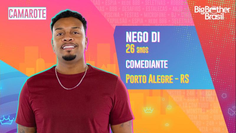 Na foto, aparece Nego Di que é um dos participantes do BBB 21.