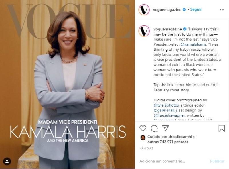 Capa da Vogue com Kamala Harris para a edição digital de fevereiro de 2020