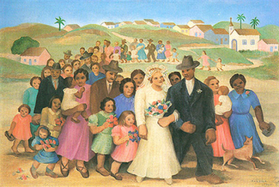 Quadro O casamento de Tarsila do Amaral