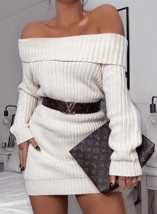 vestido tricô ciganinha com cinto