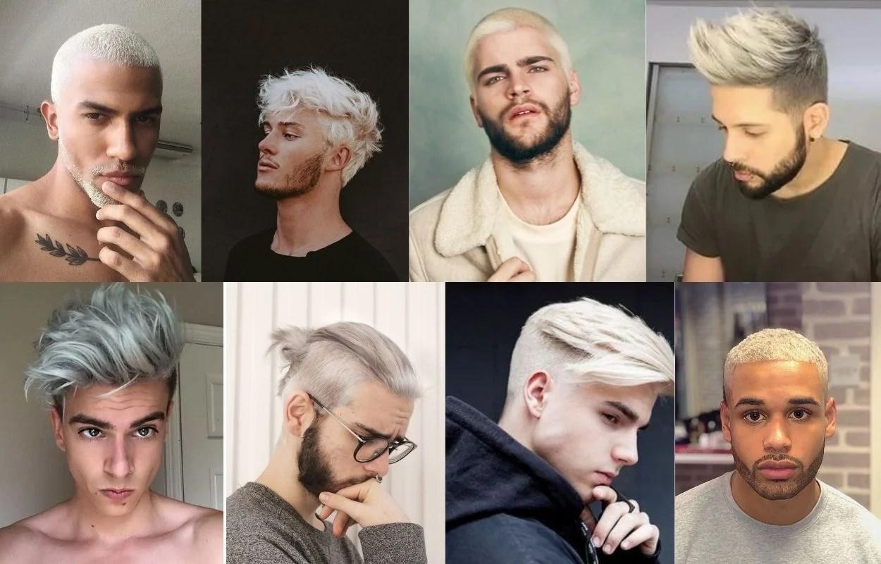 oito fotos de homens com cabelo em tom loiro pivete