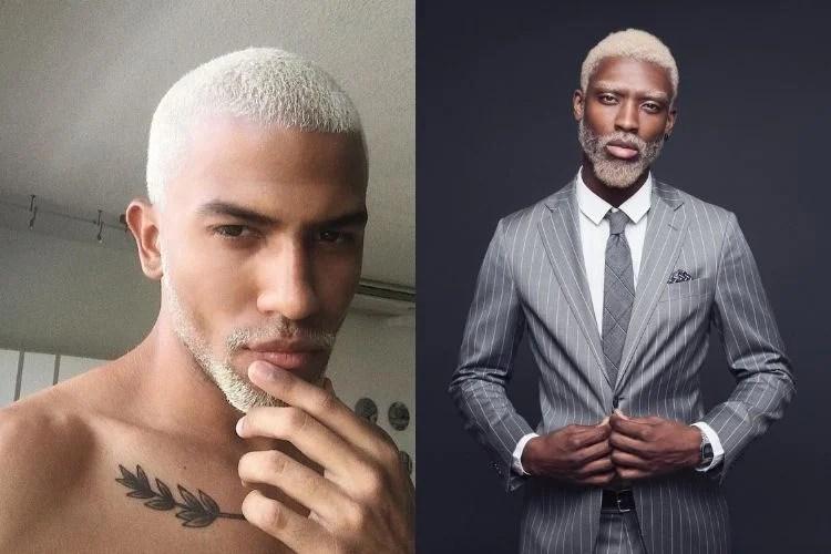 dois homens com cabelo e barba descoloridos