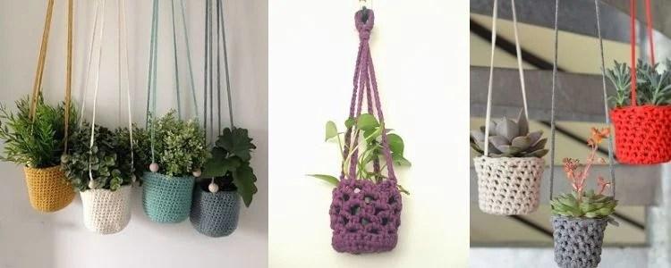 três ideias de cachepô suspenso de crochê