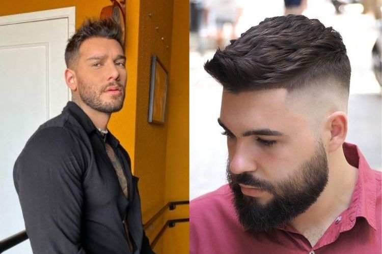 duas opções de corte masculino com topete baixo