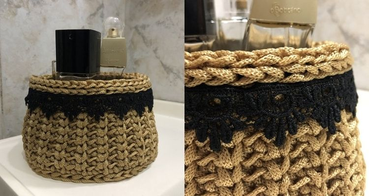 cachepô dourado com renda preta