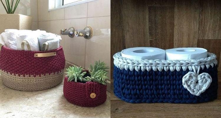 cachepôs de crochê para banheiro