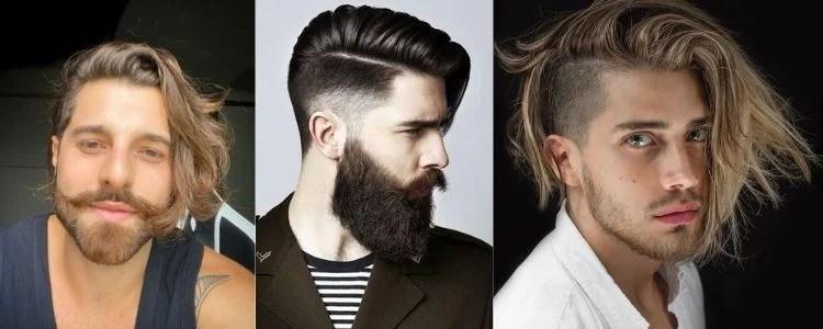 três opções de corte de cabelo comb over
