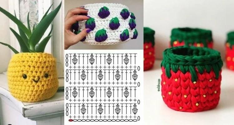 três opções de cesto de crochê com tema de frutas
