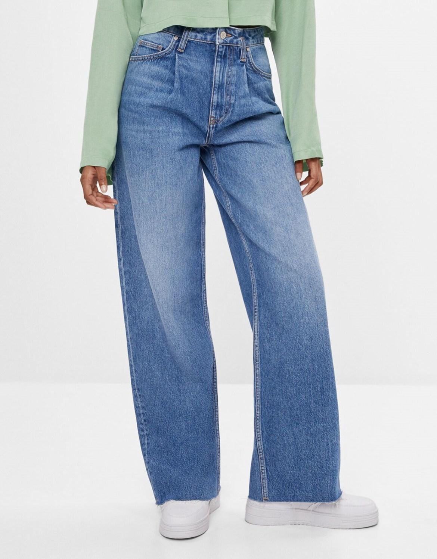 Calças jeans folgados feminino.