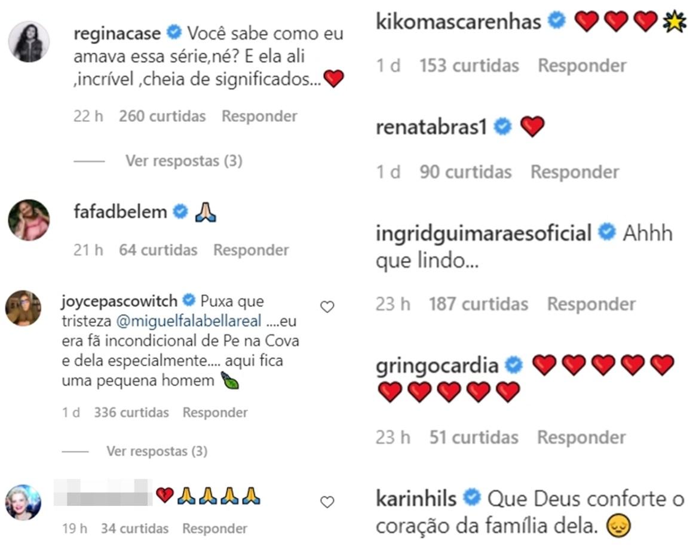 Atores da Rede Globo, em luto, prestam homenagem para Niana Machado.