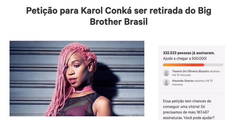 Internautas fazem petição pedindo expulsão de Karol Conká do BBB21 - Reprodução