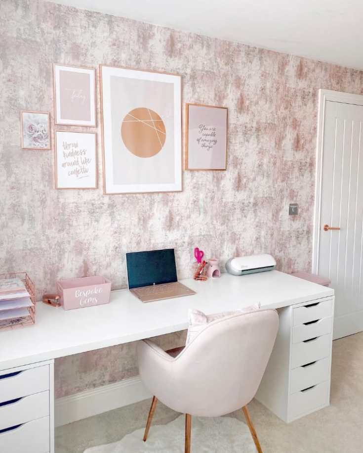 Home office rose gold