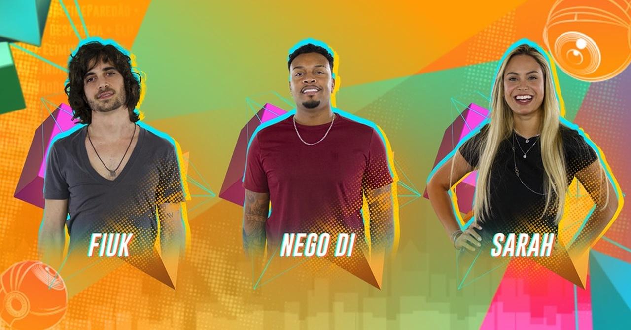 Fiuk, Nego Di e Sarah estão no 3º Paredão do BBB21 - Globo