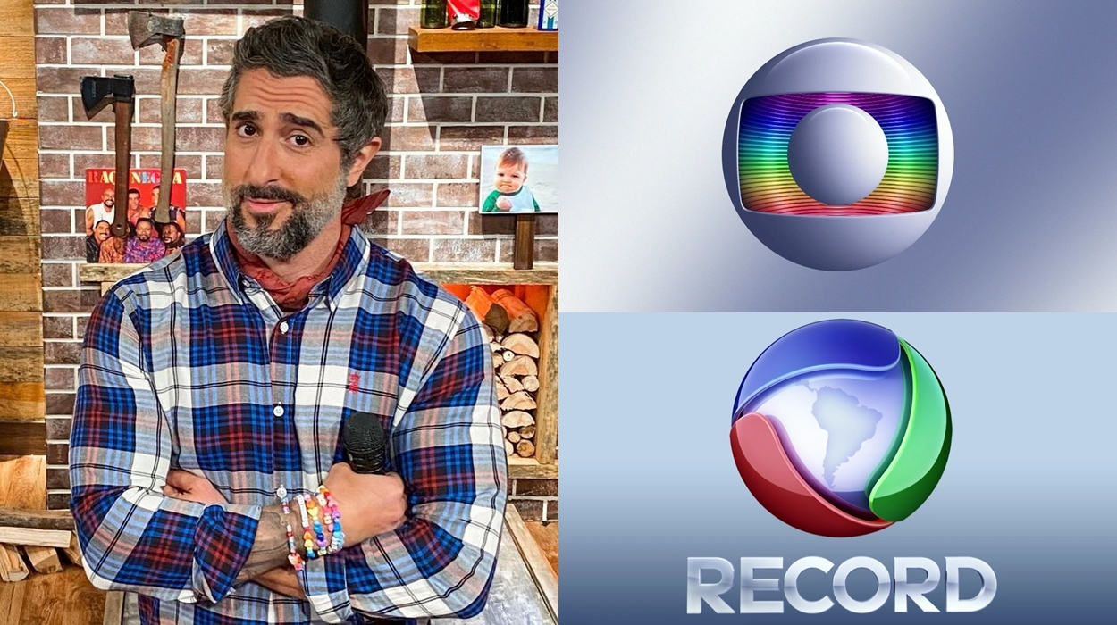 Marcos Mion, logo da Rede Globo e Record Tv.