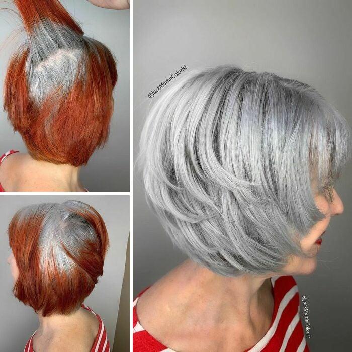 cabelo ruivo com fios brancos