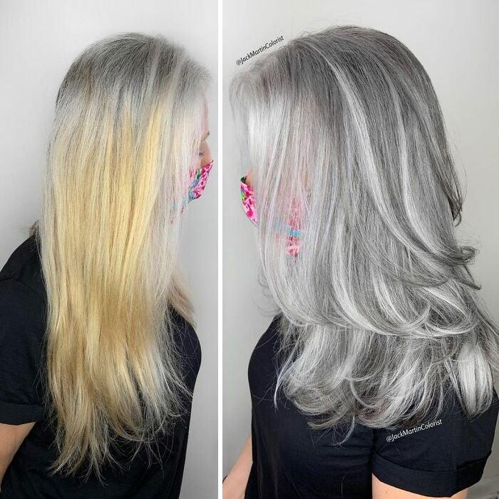 cabelo loiro e cabelo branco