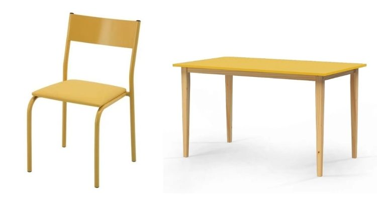 cadeira e mesa amarela