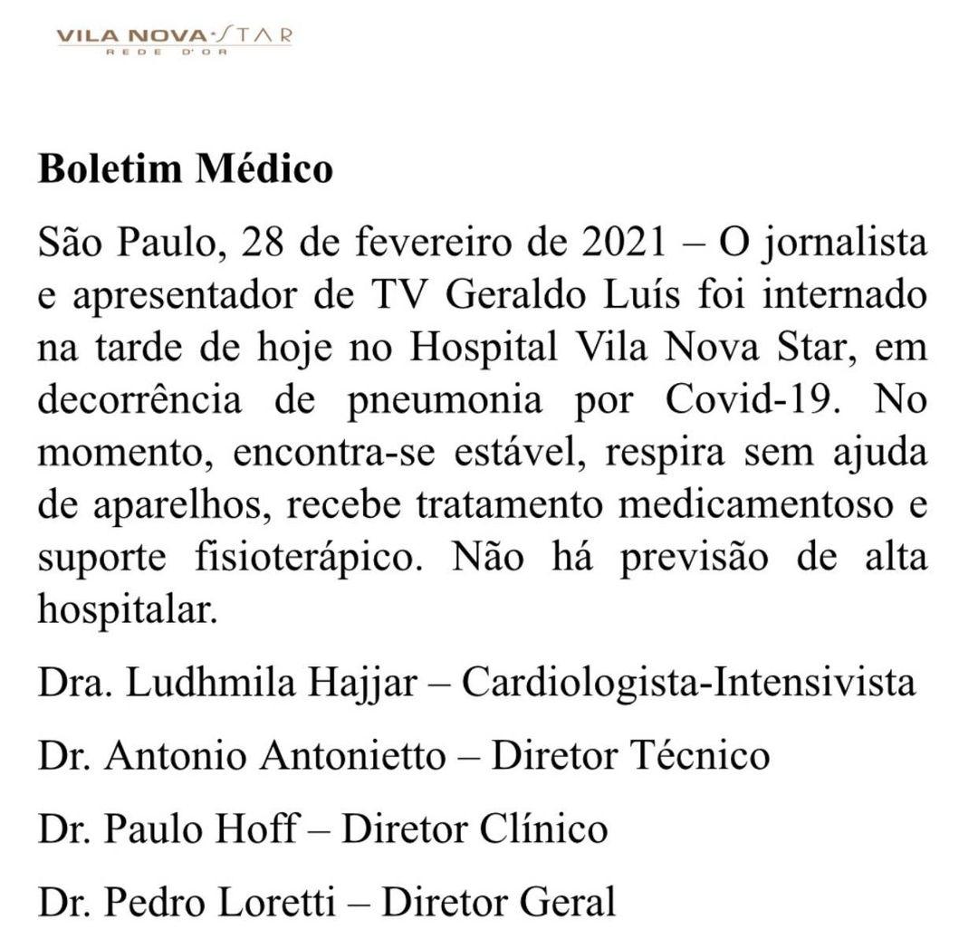 Boletim médico Geraldo Luis.