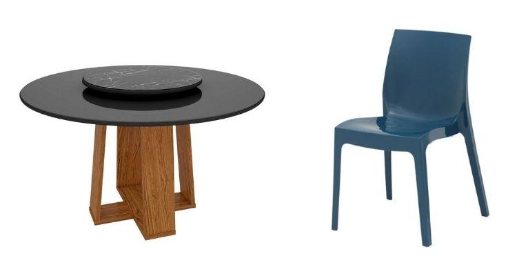 mesa giratória e cadeira de plástico