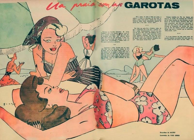 """Ilustração de Alceu Penna """"Na praia com as garotas"""", de 1946."""