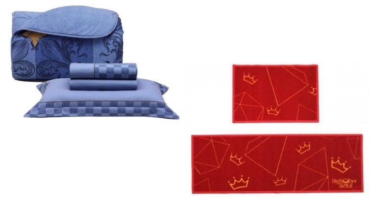 roupa de cama e tapete do quarto do líder