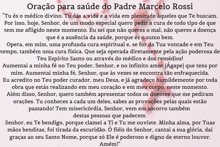 orações para saúde do Padre Marcelo Rossi