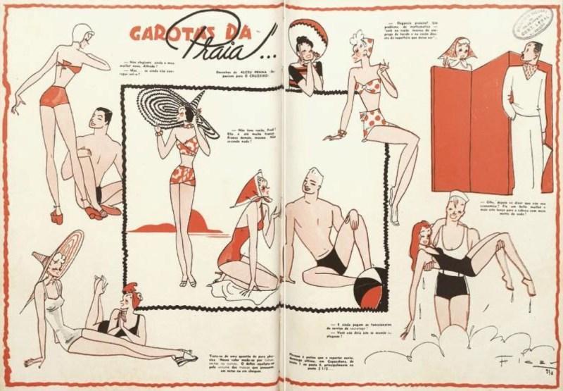 """Ilustração de Alceu Penna """"Garotas da Praia"""", de 1938."""