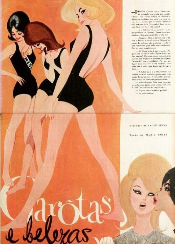 """""""Garotas e Belezas"""", ilustração de Alceu Penna sobre os desfiles de Miss, na revista O Cruzeiro de 1960."""