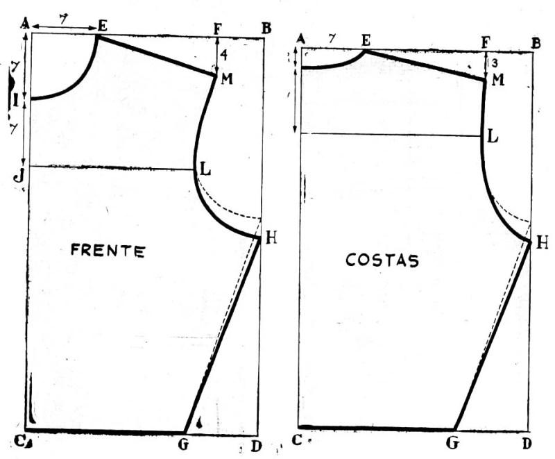 Modelo básico de uma blusa de Gil Brandão, de 1959.