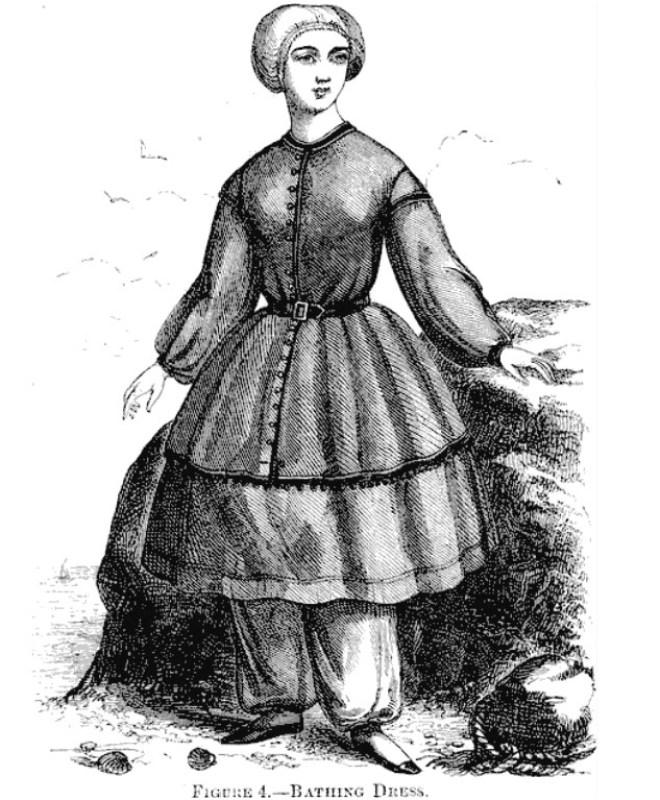 """Roupa de banho de 1858 publicada pela """"Harpers Magazine""""."""