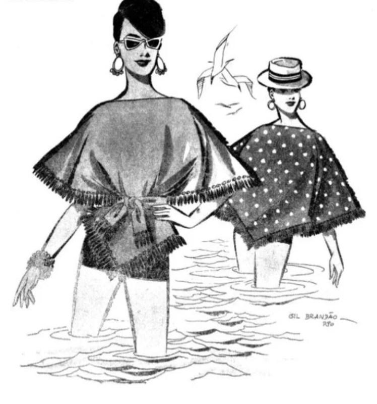 """Ilustração de Gil Brandão no livro """"25 modelos de blusas e blusões""""."""