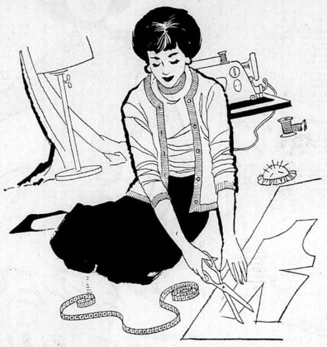 Ilustração de Gil Brandão sobre os utensílios de costura, de 1959.