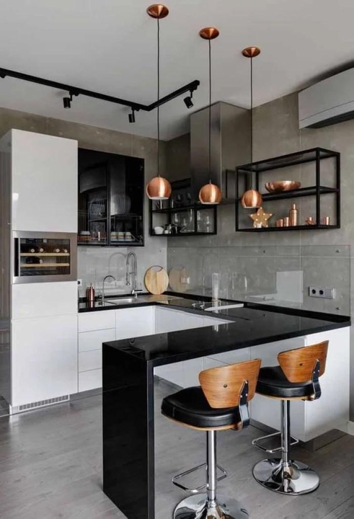Decoração industrial na cozinha.