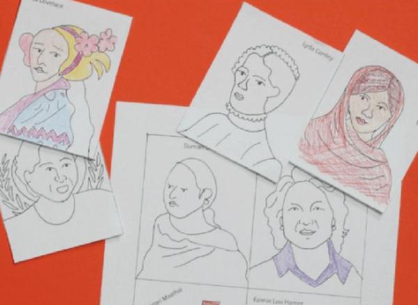 desenhos coloridos de mulheres em papel branco