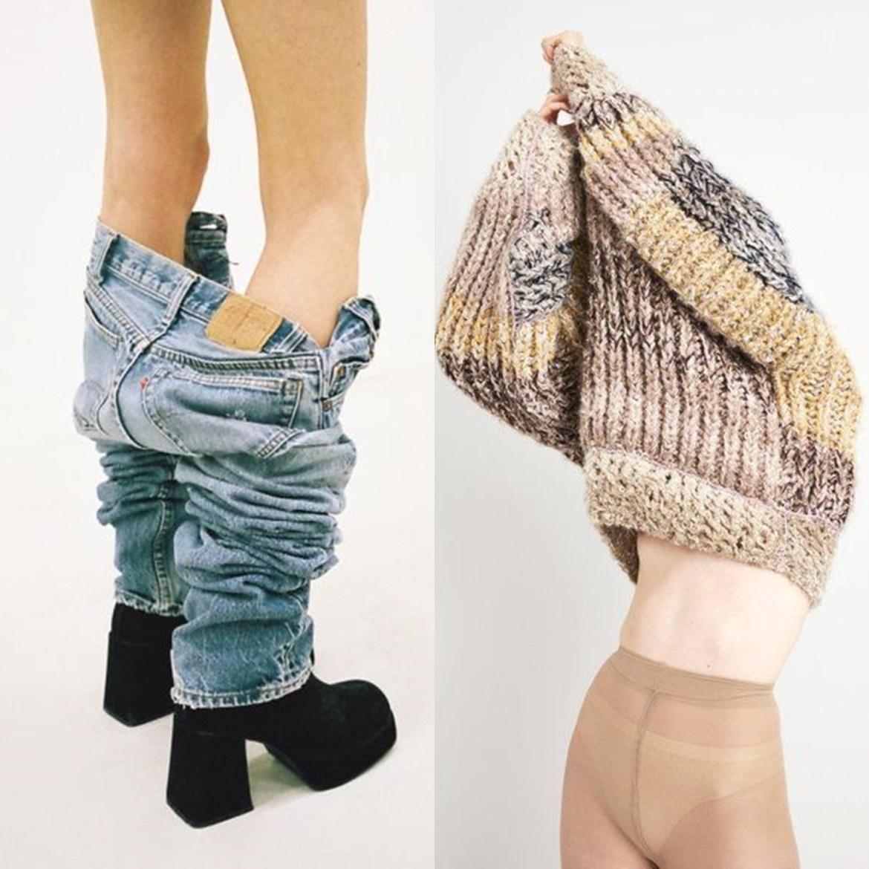 Mulher experimentando roupa.