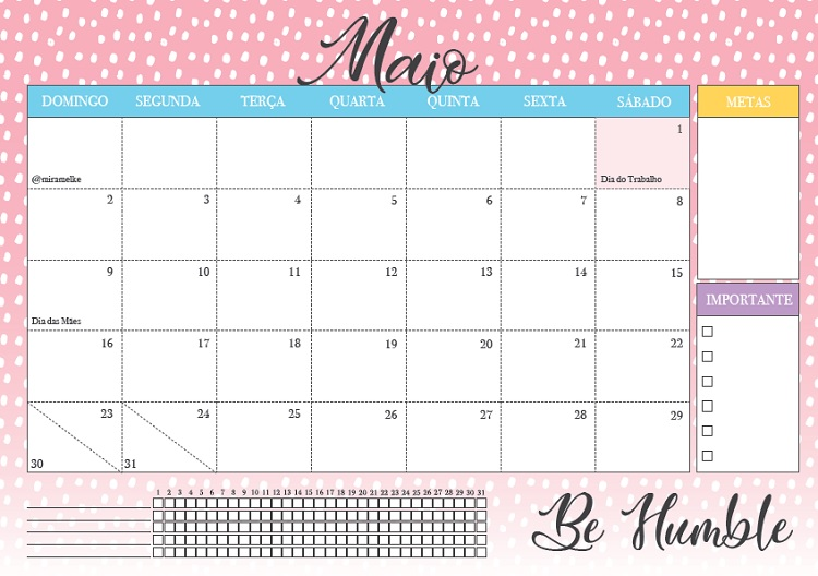 calendário do mês de maio 2021