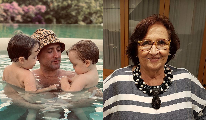 Paulo Gustavo e seus filho e mãe do comediante em montagem.