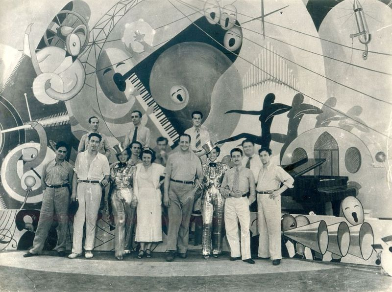 """""""Alô, Alô, Carnaval"""", último dia de filmagem, em 1936."""