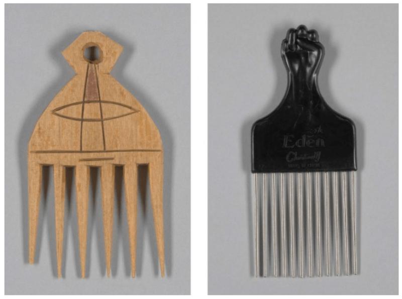 Do lado esquerdo um pente do Gana de 1950, do direito um pente feito no mesmo estilo ornamento com um punho negro usado no cabelo Black Power.