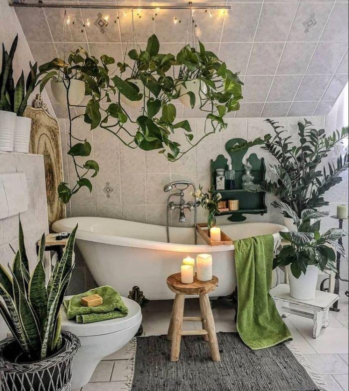 Banheiro com banheira e muitas plantas.