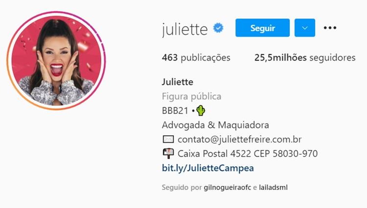 Seguidores no Instagram de Juliette, 05/05/2021.