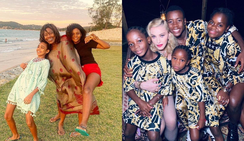 Glória Maria e filhas. Madonna e filhos.